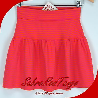 NWT HANNA ANDERSSON GOOD STRETCH YOGA FOLDOVER SKIRT PINK CARROT STRIPE 140 10