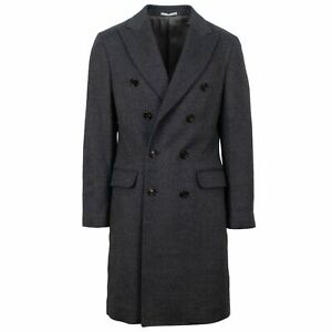NWT-BRUNELLO-CUCINELLI-Gray-Double-Breasted-Wool-Blend-Coat-Size-48-38