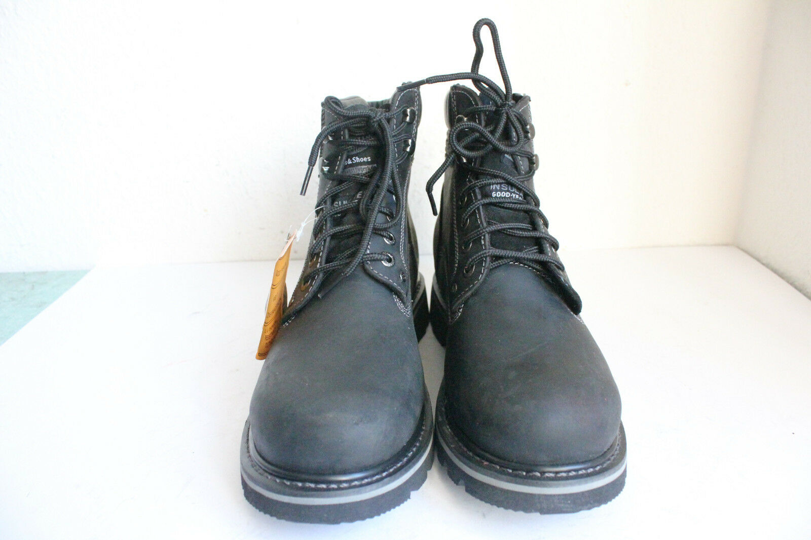 Dockers elegante con cordones botas de cuero genuino negro eu:44 nuevo sin cartón