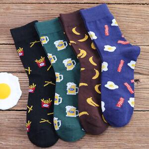 Mens-Cotton-Socks-Novelty-Banana-Beer-Chips-Pattern-Unisex-Casual-Dress-Socks