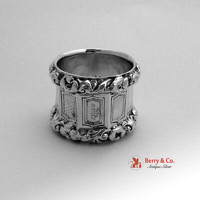 Nonagonal Baroque Wild Rose Napkin Ring 12 Loth German 1855