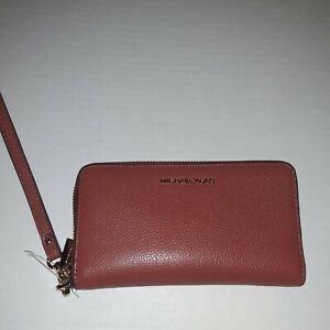 Michael Kors Jet Set Travel large MF Phone Case Wristlet wallet terracotta $118