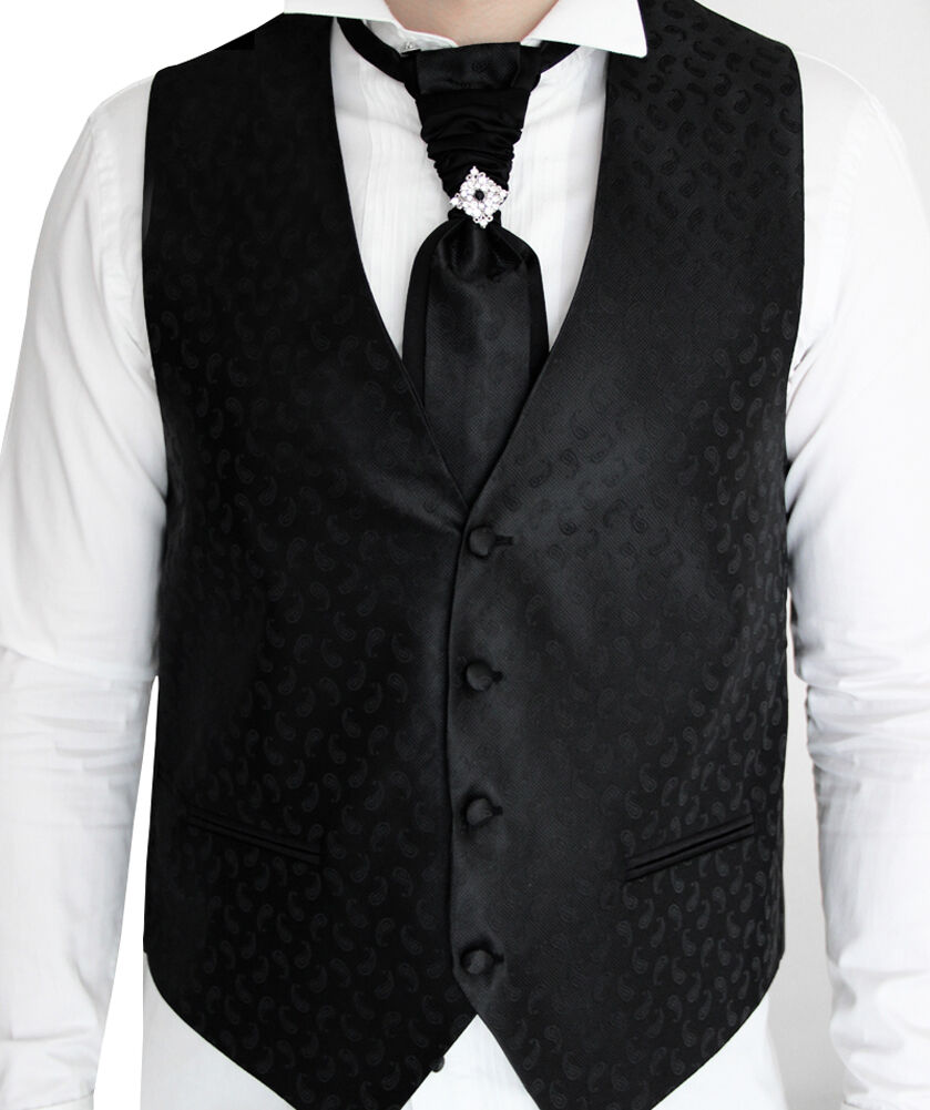 Herren Hochzeitsweste Schwarz Paisley -5 teilig- Designer Weste-Größe S-7XL W04
