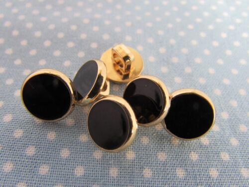 5 o 10 11mm Negro y Oro Camisa De Vestir Botón en una caña envases de 2