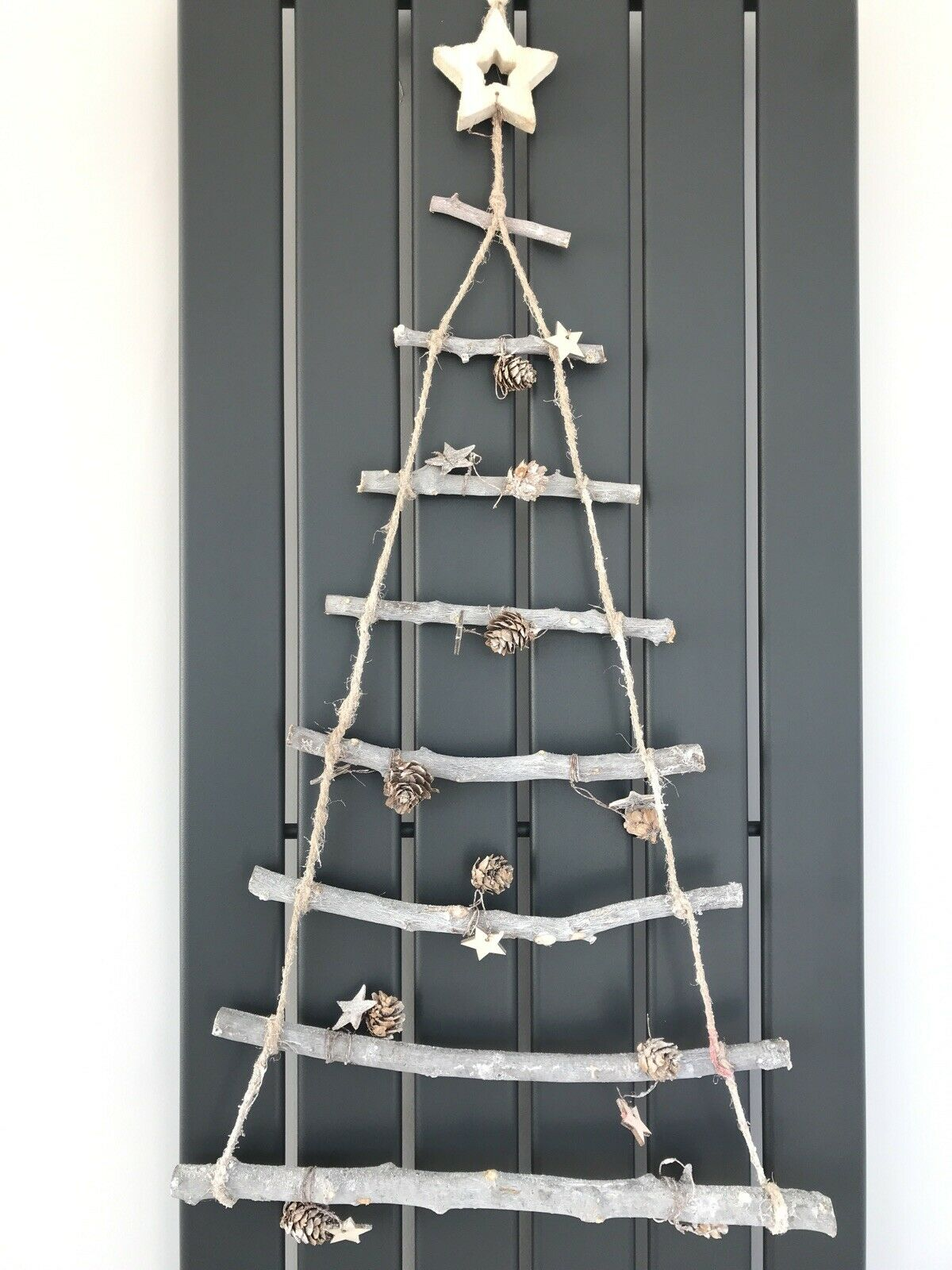 Wall Hanging Christmas Twig Tree Decoration Festive Rustic Wooden Ladder 80cm For Sale