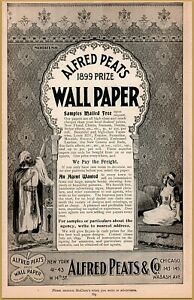 1899  Alfred Peats Co Wall Paper Moorish Hookah Woman Home Decor Print Ad