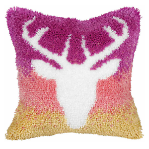 Details About Orchidea Latch Hook Cushion Kit Large Stag Needlecraft Kits