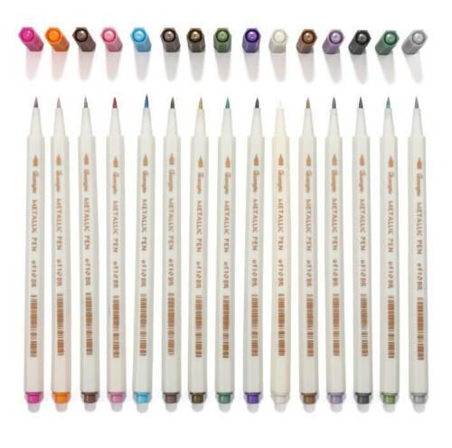 Set of 15 Colors Metallic Calligraphy Brush Marker Painting Pens Brush Lettering