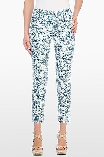 NEW NYDJ Not Your Daughters Jeans Ariel Paisley bluee white crop capri pants sz 6