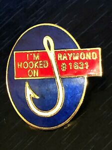 Collectible Vintage I'm Hooked on Raymond #1631 Colorful Metal Pinback Lapel Pin