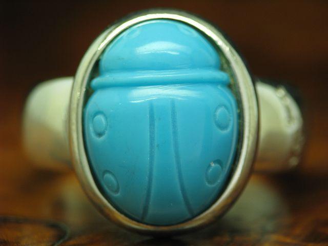 925 STERLING silver RING MIT KUNSTMASSE BESATZ   ECHTsilver   8,6g   RG 60