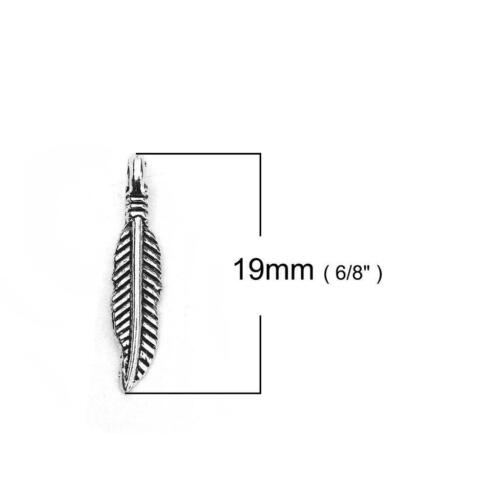 20 Feather Charms Antique Silver Feathers 19mm x 4mm