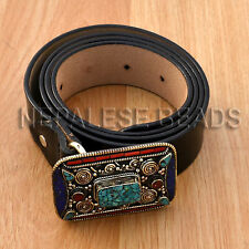 BKS14a Unisex Nepal Tibetan Turquoise Coral Lapis Belt Buckle Black Leather 1X
