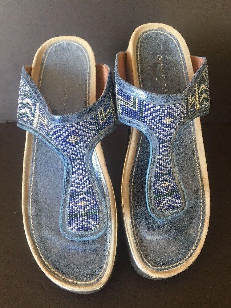 Donald J Pliner Cali Wedge Beaded Flip Flop Sandal bluee Size 9
