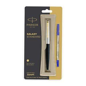 Standard Gold Trim Roller Ball Pen-Black Body,Blue Ink By Parker Galaxy