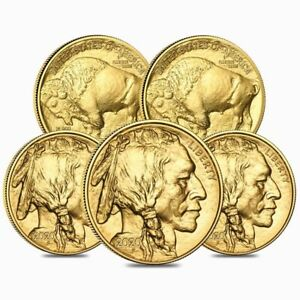 Lot-of-5-2020-1-oz-Gold-American-Buffalo-50-Coin-BU