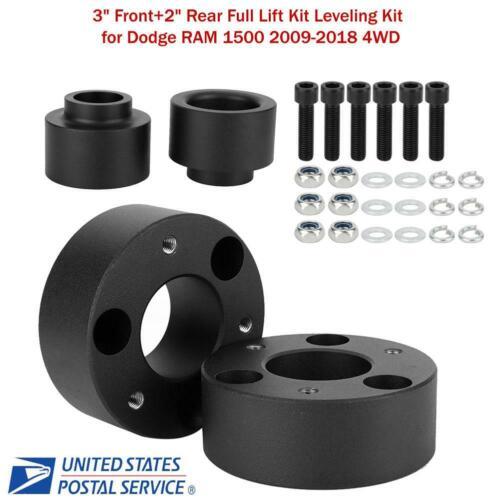 """3/"""" Front+2/"""" Rear Full Lift Kit Leveling Kit for Dodge RAM 1500 09-18 4WD Black"""