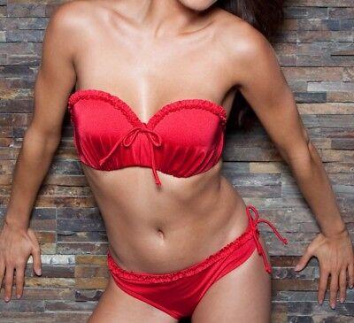 Pour Moi Bikini Brief Carnival Size 16 Chilli Red Frilled Tankini Bottom 1103