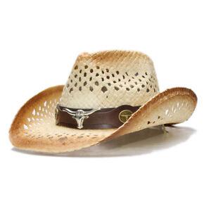 Unisex Retro Cowboy Hat Sun Western Cowgirl Straw Embroidery Cap Summer Beach