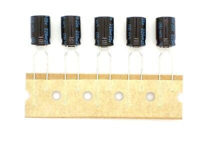 F144 5x JAMICON 220µF 25V 220uF,ELKO,Elektrolyt-Kondensator ø8x13mm,105°C RoHS