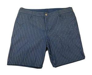ZAC-amp-RACHEL-Reversible-Shorts-Womens-16-XL-Blue-Stripe-Solid-Stretch-NWOT