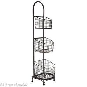Black 3 Tier Wire Basket Stand Large 37 12 Versatile Fruitsveg