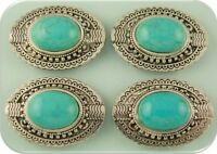 2 Hole Beads Faux Turquoise Oval Conchos Silver Plated Metal Sliders Qty 4