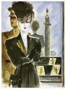 """""""boucheron"""" Annonce Originale Entoilée plaisir De France 1948 p. Sim  26x33cm Nzsz456z-07231337-237129488"""