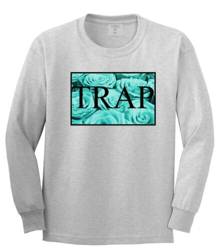 KINGS NY Trap LONG SLEEVE T SHIRT trill floral flowers lord hood style blue nyc