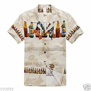 Men-Tropical-Hawaiian-Aloha-Shirt-Cruise-Luau-Beach-Party-Tan-Brew-Beer-Bottles