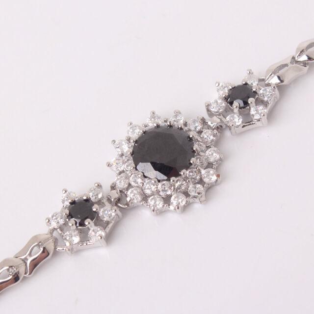 "New fashionable 18k white gold filled Swarovski Crystal bracelet 7.5""13.1g"