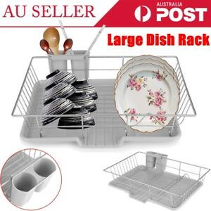 New-Large-Dish-Rack-Utensils-Holder-Side-Drainer-Drying-Tray-Stainless-Steel