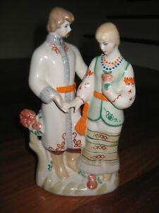 ANTIQUE-UKRAINIAN-RUSSIAN-PORCELAIN-FIGURINE-FOLK-USSR-60-039-YOUNG-COUPLE