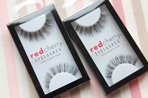 2x-Red-Cherry-IVY-415-falsche-unechte-kuenstliche-Echthaar-Wimpern-strip-lash