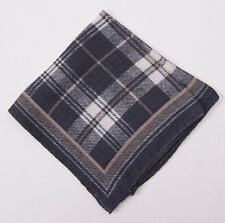New $135 ERMENEGILDO ZEGNA Gray Plaid Check Wool and Silk Pocket Square