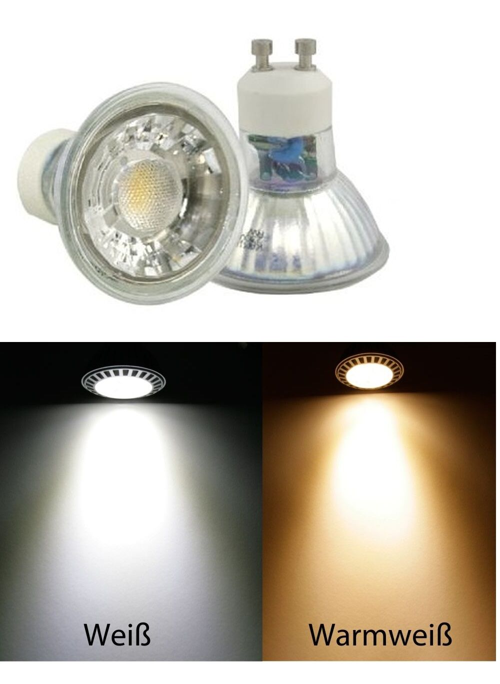 Sets  COB LED Leuchtmittel 230Volt 7W=52W Spots   Gu10   EEK A+   36°