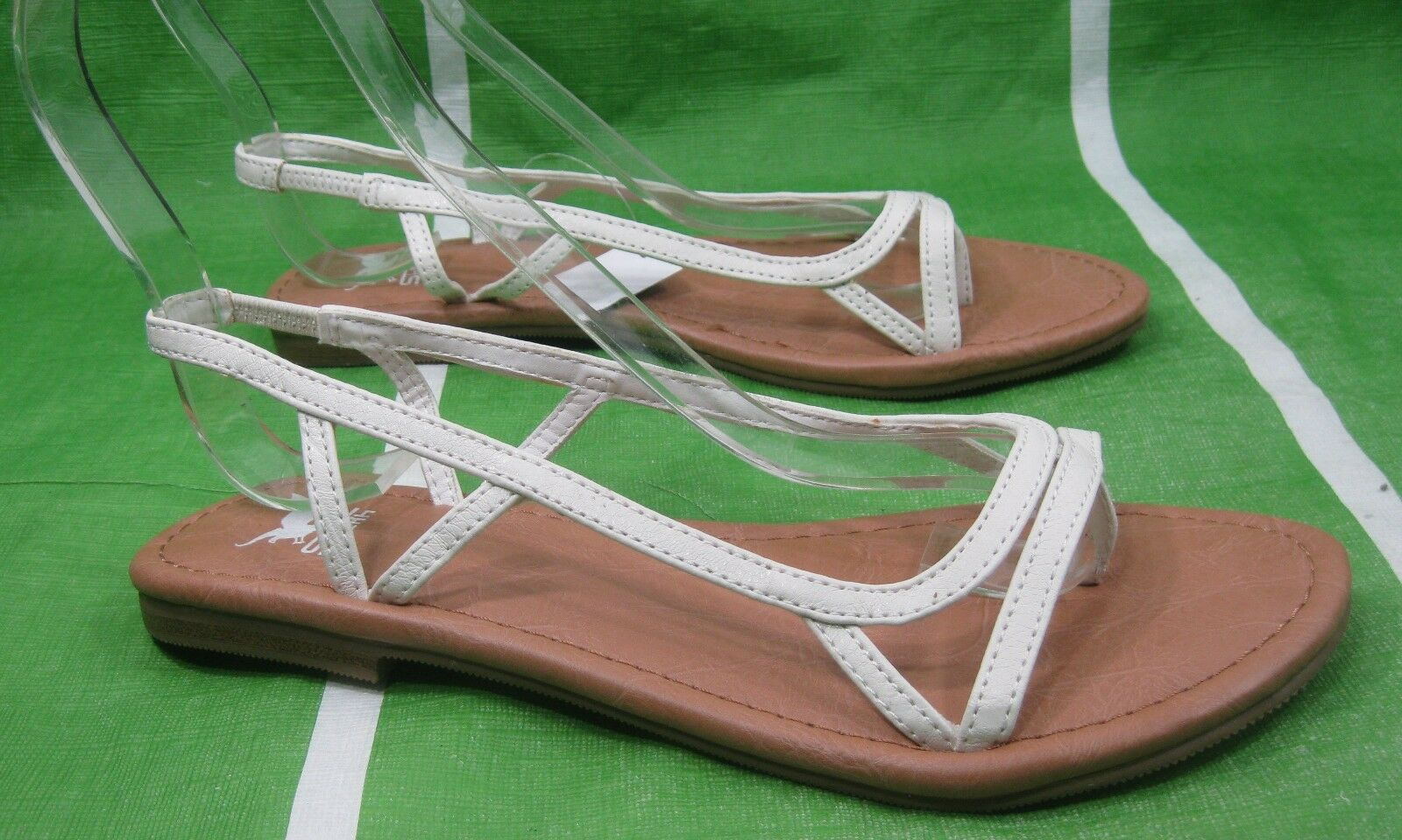 NEW LADIES Summer WHITE  Sexy Flat Back Elastic Strap Sexy  Sandals Size 8 93e295