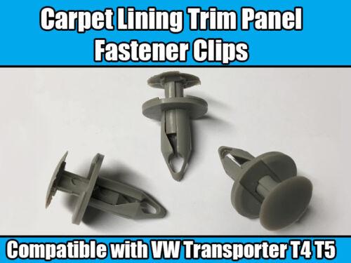 10x Clips Para AUDI SEAT VW Transporter T4 T5 gris claro panel guarnecido Forro de alfombra