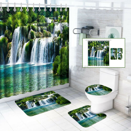 12 Hooks 59ft Bathroom Shower Curtain Waterfall Decor Set Waterproof Curtains