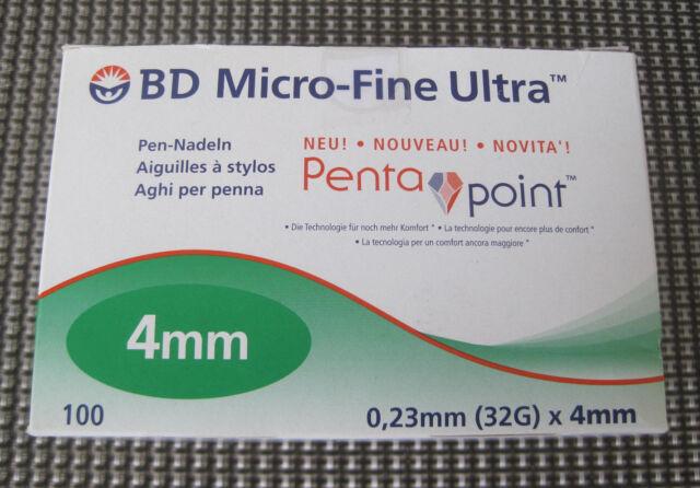 1 x BD Micro-Fine Ultra Pen-Nadeln 0,23 mm (32G) x 4 mm 100 Stück  ++Neu/Ovp++