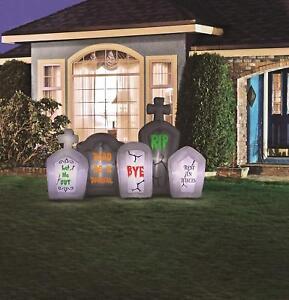 Halloween Inflatable Tombstones Scene Flashing Lights Yard Outdoor Decoration