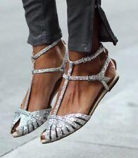 ZARA Silver Glitter Flat Jelly Sandals Shoes UK 6 Euro 39