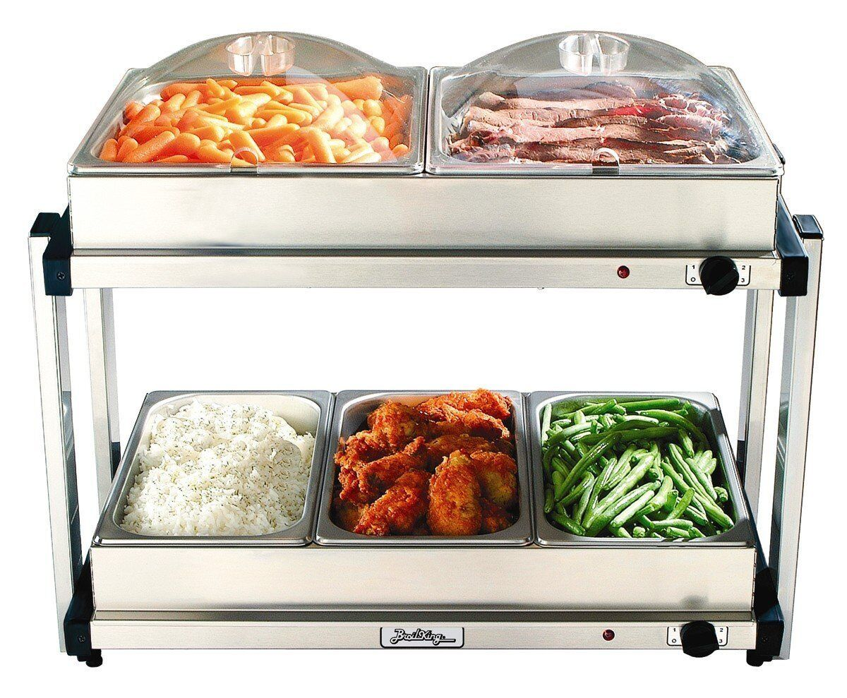 BroilKing Professional Multi-Level Buffet Server w  Stainless Base, Plastic Lids