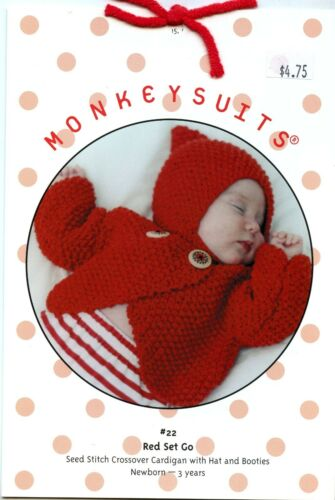 Monkey Suits Knitting Pattern #22 Red Set Go Cardigan Hat Booties Baby NB-3yrs