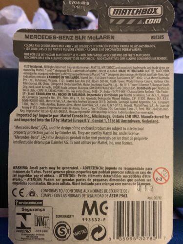 Matchbox #29 Mercedes Benz SLR McLaren Silver Car