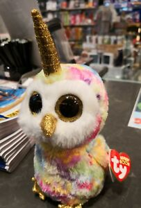 Image is loading TY-BEANIE-BOOS-Enchanted-owl-with-horn 1fec956cb095