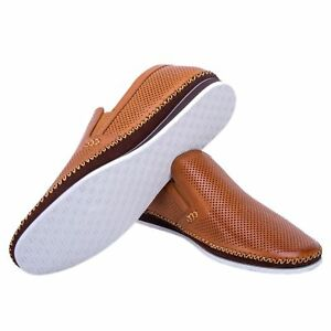 974d59bdfca Details about NEW Zanzara Mens Merz Perforated Leather Slip On COGNAC Shoes  PICK SIZE