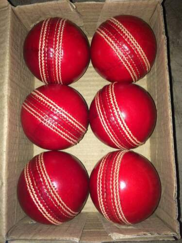 Hand Stitched 50 overs TEST+Free Ship. Lot of 6 pcs Cricket Leather Ball 4 Part