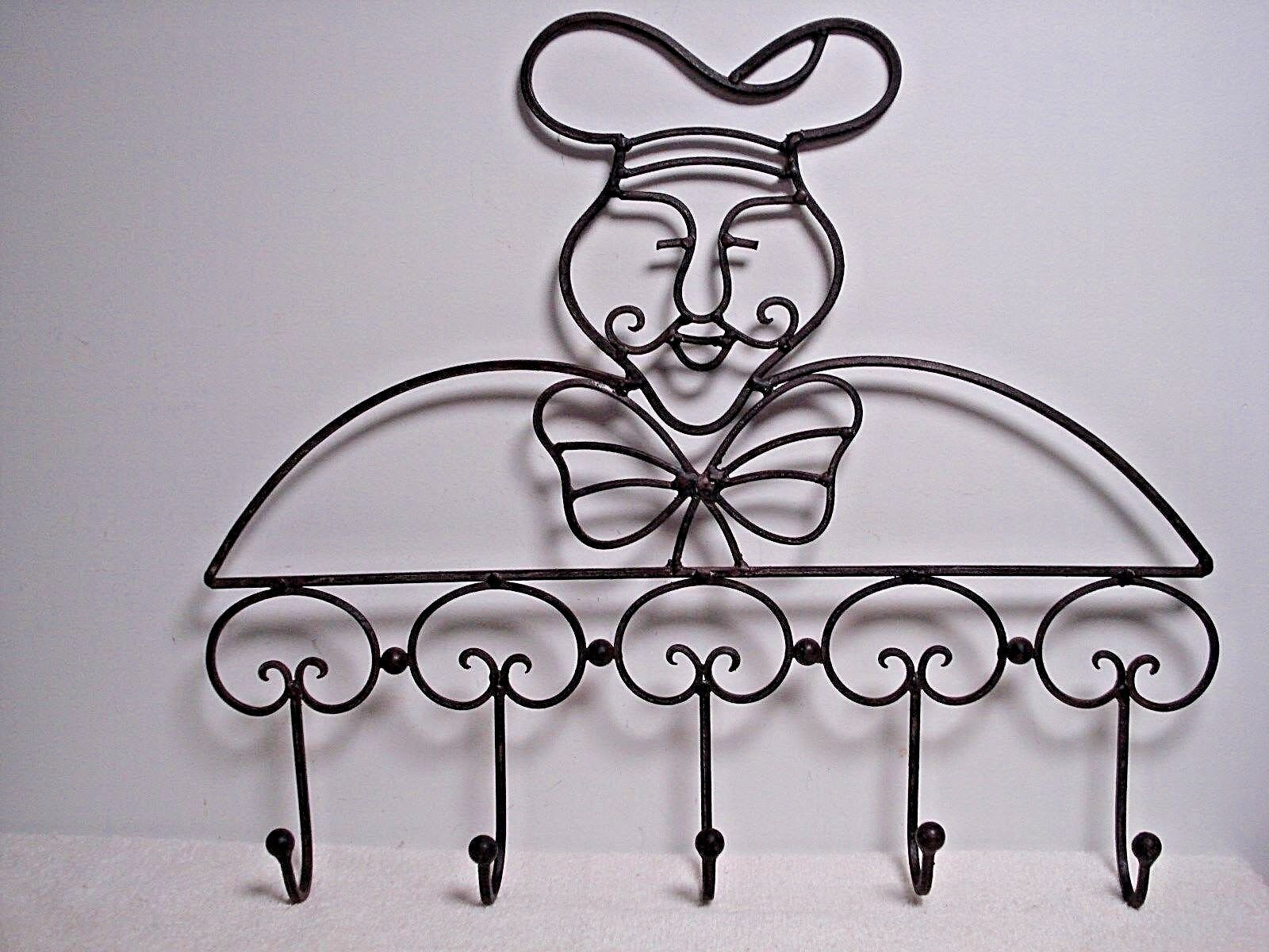Lg chef Wall Mount Coat pot  pan Hook brown Wrought Iron kitchen cooking Decor