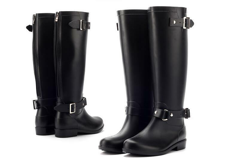 Red Zipper Rain Boots Outdoor Rubber Waterproof shoes For Women Women Women Round Toe PU cdb8c7